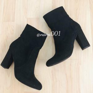 Madden Girl Black Ankle Booties Chunky Heel EUC